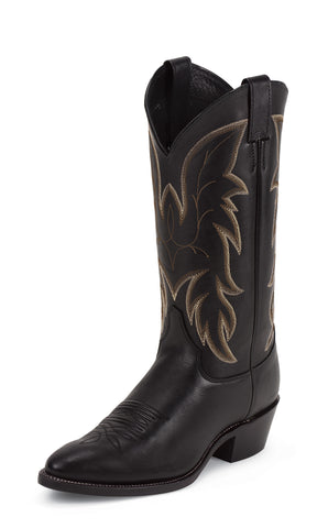 Justin Mens Black Cowhide Leather Western Boots 13in Chester Royal