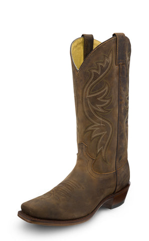 Justin Mens Brown Apache Elon Leather Cowboy Boots