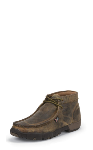 Justin Mens Dark Brown Waxy Leather Casual Boots Driver Mocs Lace-Up