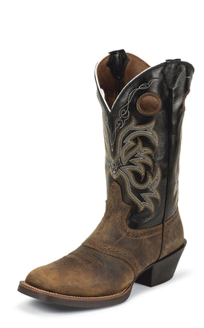 Justin Mens Tan Buffalo Leather Western Boots Punchy Distressed