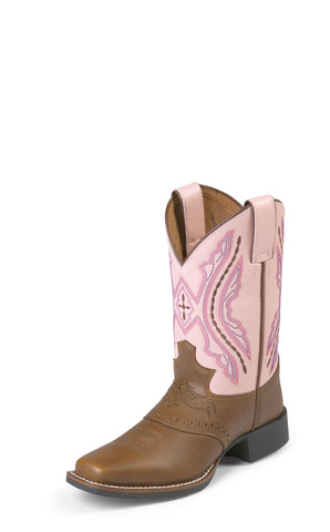 Justin Youth Girls Pink Cowhide Leather Western Boots Bay Westerner