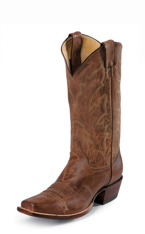 Justin Mens Tan Goat Leather Western Boots 13in Punchy Square Toe