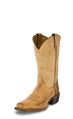 Justin Mens Golden Tan Hank Leather Cowboy Boots