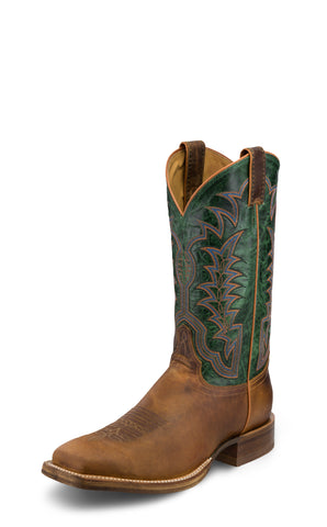 Justin Mens Cognac/Green Hildago Leather Cowboy Boots