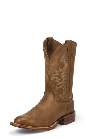 Justin Mens Golden Brown Leather Western Boots 11in Tack Round Toe