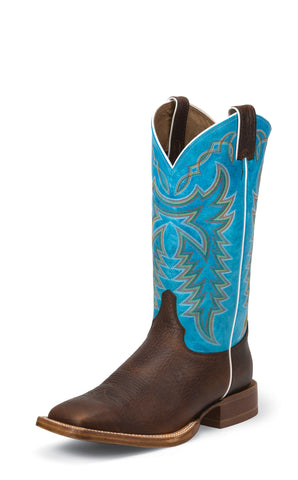 Justin Mens Circo Blue Leather Western Boots CPX Collection Whiskey
