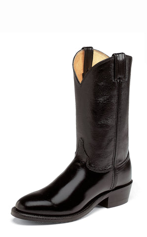 Justin Mens Black Calfskin Leather Western Boots 12in Melo-Veal