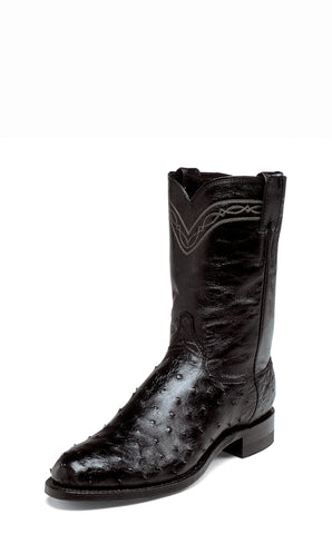 Justin Mens Black Full Quill Ostrich Skin Western Boots 10in Roper