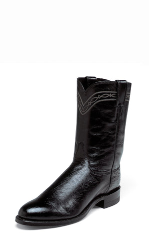 Justin Mens Black Smooth Ostrich Western Boots 10in Roper