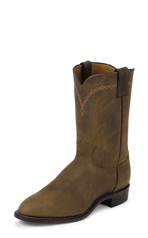 Justin Mens Bay Apache Leather Western Boots 10in Roper Classic