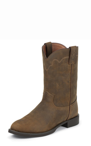 Justin Mens Tan Apache Leather Western Boots 10in Roper Stampede