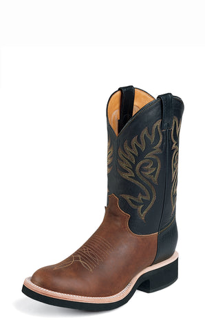 Justin Mens Coffee Brown Leather Western Boots 11in Roper Tekno Crepe