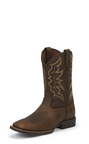 Justin Mens Pebble Brown Leather Western Boots 11in Cowboy
