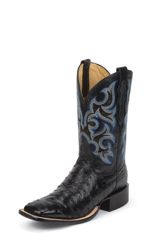Justin Mens Black Full Quill Ostrich Western Boots 11in Shadow