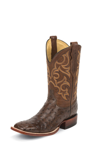Justin Mens Tobacco Brown Full Quill Ostrich Western Boots 11in Ranch