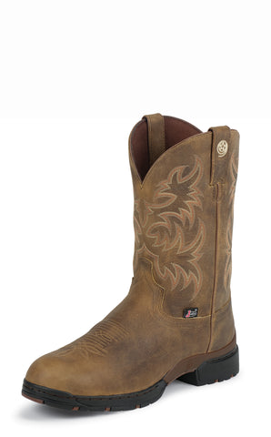 Justin Mens Tan Leather Western Boots George Strait Waterproof