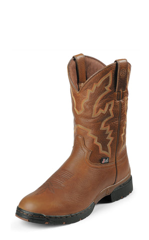 Justin Mens Light Brown Leather Western Boots George Strait Wateproof