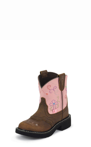 Justin Kids Girls Pink Leather Western Boots Cross Lights Gypsy