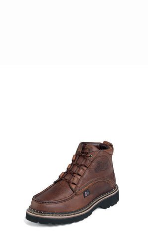 Justin Mens Brown Rustic Leather Casual Boots Chukka Lace-Up