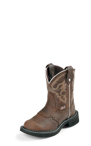 Justin Kids Aged Bark Leather Western Boots Gypsy Saddle