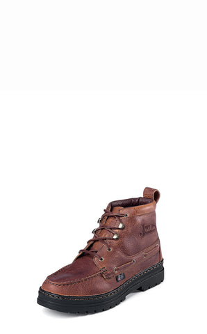 Justin Mens Brown Rustic Leather Casual Boots Chukka Lace-Up Cowhide