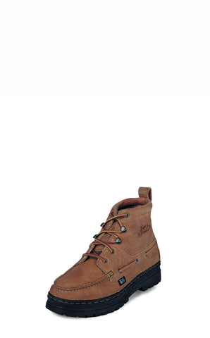 Justin Mens Copper Grizzly Leather Casual Boots Chukka Lace-Up