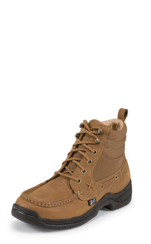 Justin Mens Tan Latigo Leather Casual Boots Chukka Lace-Up Cloth