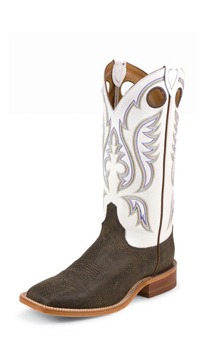 Justin Mens Classic White Cowhide Leather Western Boots Bent Rail