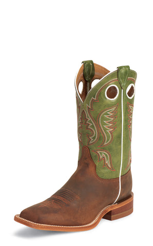 Justin Mens Green Ponteggio Leather Western Boots Bent Rail