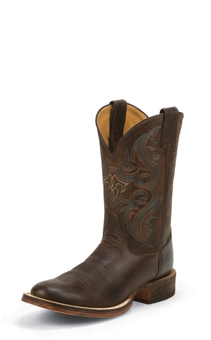 Justin Mens Chocolate Leather Western Boots Bent Rail Embroidered