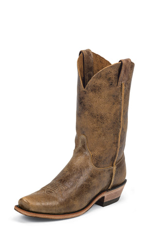 Justin Mens Brown Leather Western Boots 11in Shawnee Cracked