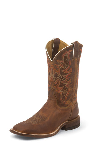 Justin Mens Cognac Leather Western Boots 11in Distressed Bent Rail