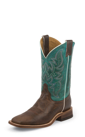 Justin Mens Turquoise Leather Western Boots 11in Bent Rail Wood