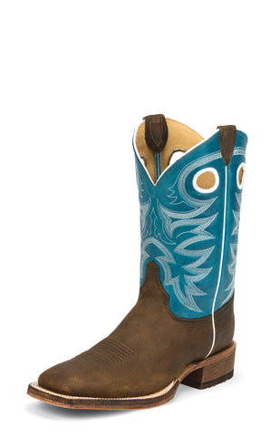 Justin Mens Bright Blue Cowhide Leather Western Boots 11in Bent Rail