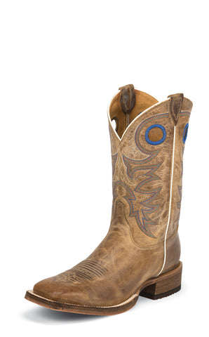 Justin Mens Beige Cowhide Leather Western Boots 11in Chievo Bent Rail
