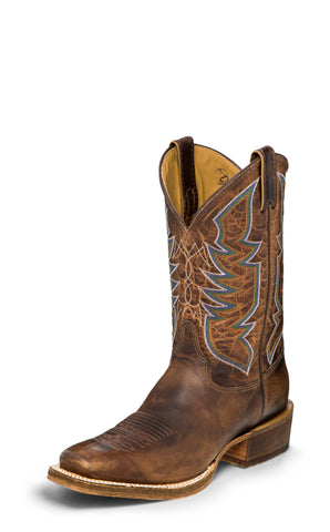 Justin Mens Stone Age Cognac Navigator Leather Cowboy Boots
