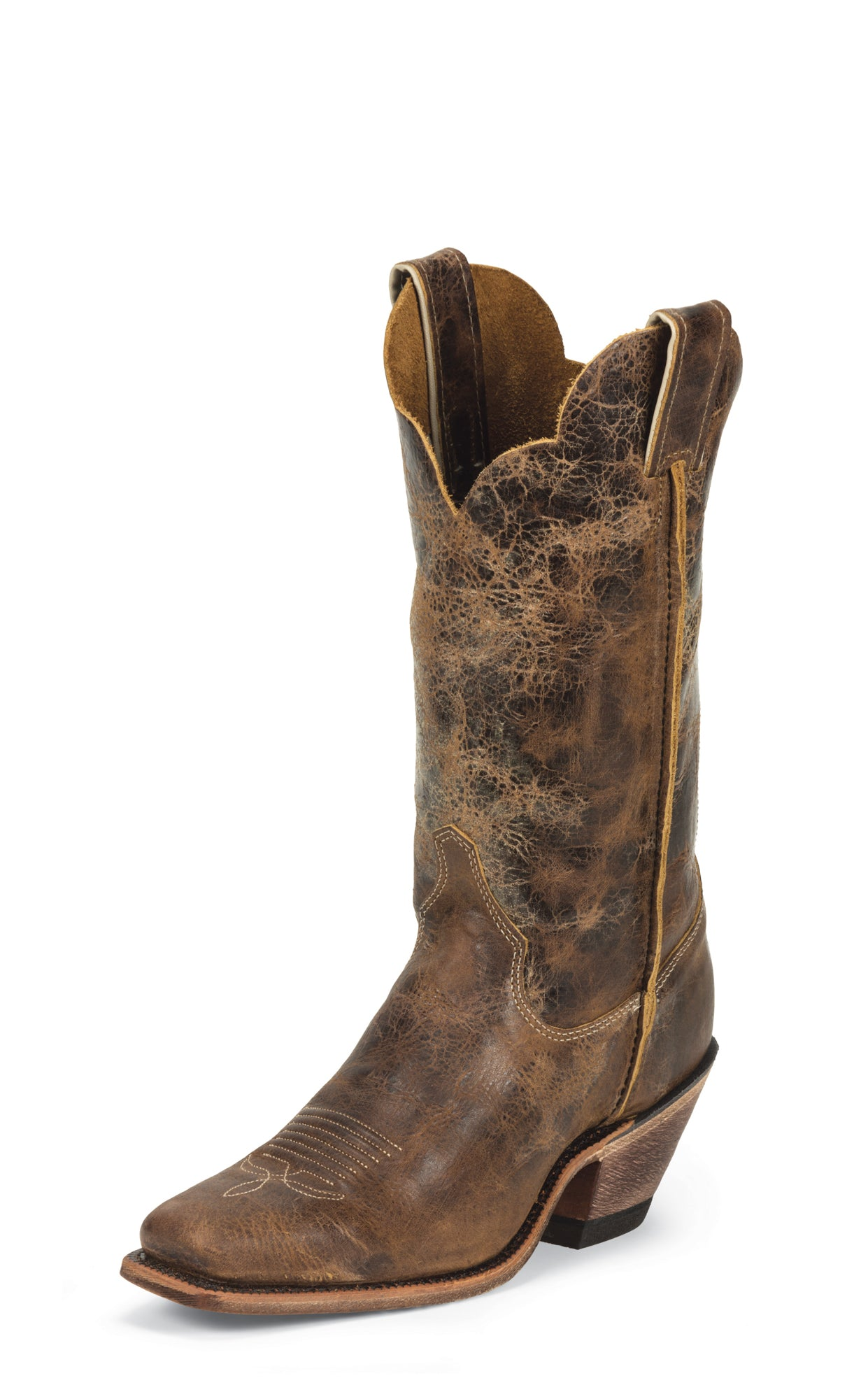 661b65cae40 Justin Womens Dark Brown Cracked Leather Western Boots 12in Bent Rail