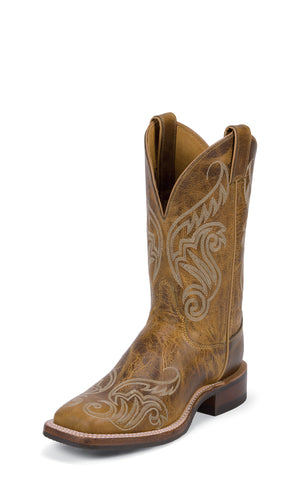Justin Womens Golden Tan Damiana Leather Western Boots 11in Bent Rail