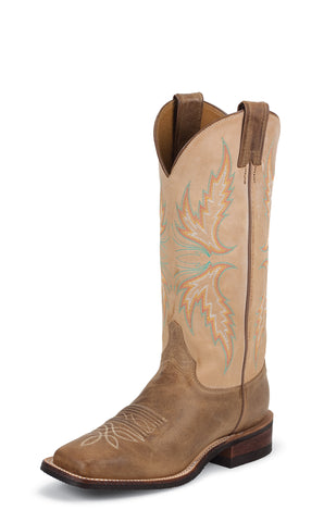 Justin Womens Arizona Mocha Leather Western Boots 13in Bent Rail