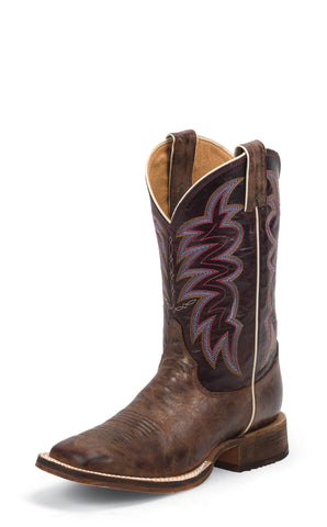 Justin Womens Purple Torino Leather Western Boots 11in Bent Rail Cedro
