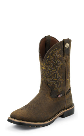 Justin Mens Dark Brown Leather Western Boots George Strait Waterproof