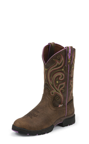 Justin Womens Brown Leather Western Boots George Strait Waterproof