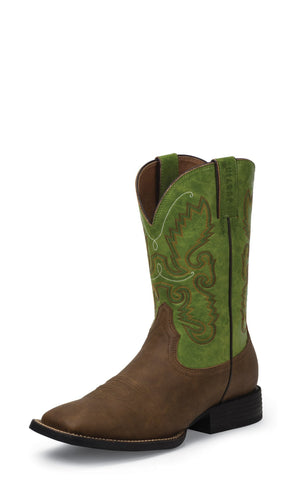 Justin Mens Green Leather Western Boots Farm n Ranch Synthetic