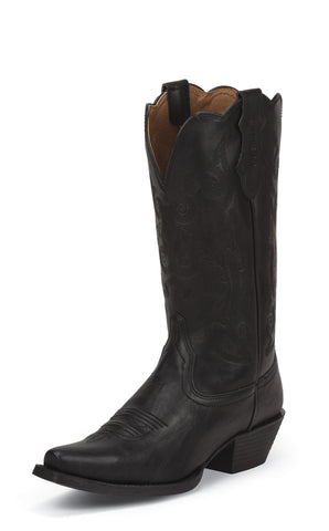 Justin Womens Black Leather Western Boots Farm n Ranch Panther