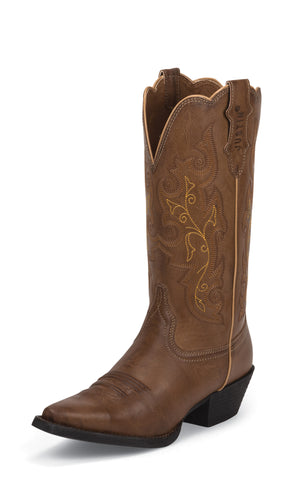 Justin Womens Brown Leather Western Boots Farm n Ranch Burnished