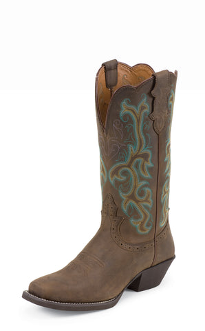 Justin Womens Sorrel Leather Western Boots 12in Apache Stampede