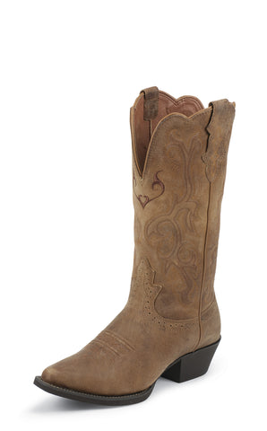 Justin Womens Tan Cowhide Leather Western Boots Stampede 12in