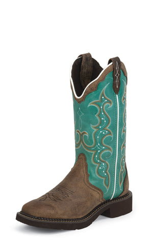 Justin Womens Turquoise Cowhide Leather Western Boots Gypsy 12in