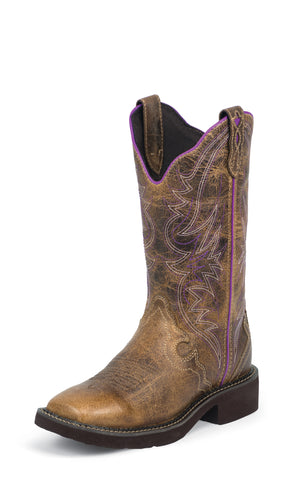 Justin Womens Tan Waxy Leather Western Boots Purple Gypsy