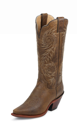 Justin Womens Brown Damiana Leather Western Boots Fashion 13in